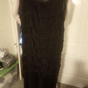 NWT- Heydari New York all Black Ruffle long dress